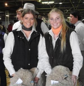 Rose Nevinson and Georgie Constance Hay Inc Hay Merino Sheep Show closer shot
